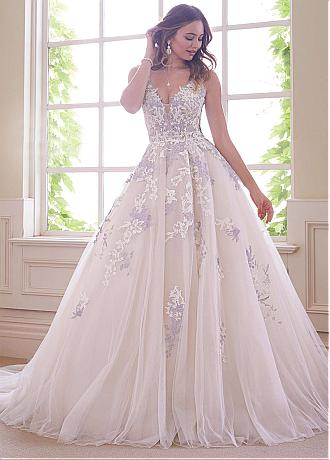 Exquisite Tulle V-neck Neckline A-line Wedding Dresses With Lace Appliques & Hot Fix Rhinestone