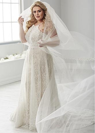 Dazzling Tulle Spaghetti Straps Neckline Plus Size A-line Wedding Dresses With Beaded Lace Appliques