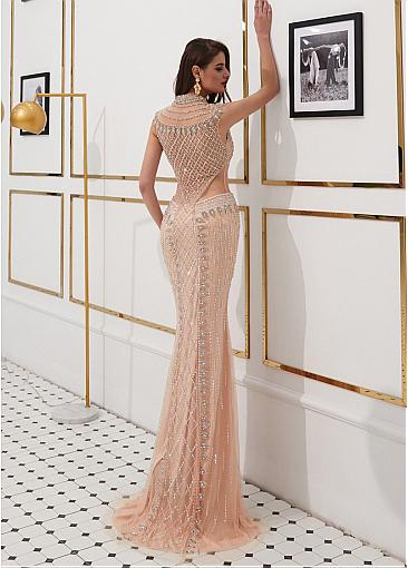 Fabulous Tulle High Collar Floor-length Mermaid Evening Dresses With Beadings & Sequins
