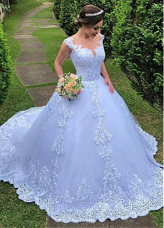 Luxury Tulle Jewel Neckline Ball Gown Wedding Dresses With Lace Appliques & Beadings