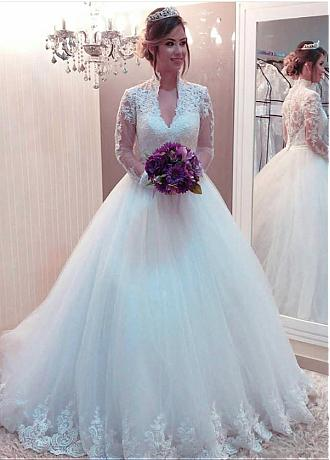 Fabulous Tulle High Collar Ball Gown Wedding Dresses With Lace Appliques & Belt