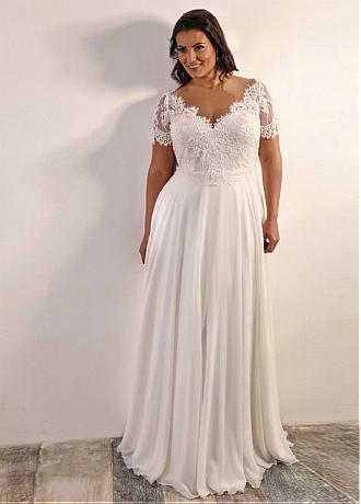 Alluring Tulle & Chiffon Jewel Neckline A-line Plus Size Wedding Dress With Beaded Lace Appliques