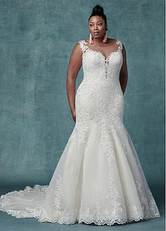 Fascinating Tulle Jewel Neckline Mermaid Plus Size Wedding Dresses With Lace Appliques
