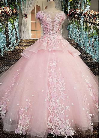 Fabulous Tulle Jewel Neckline Ball Gown Wedding Dresses With Beadings & Lace Appliques & Handmade Flowers